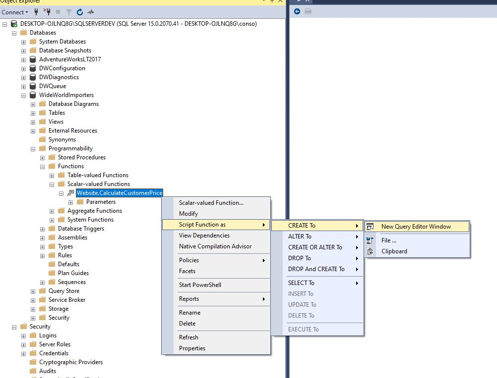 Creating function in ssms Step 3